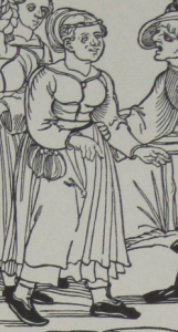 Figure 3: Dress 2 – Wide-necked dress with loose sleeves. This woman wears a belt pouch which was very common for men and women. Women often wore keys and a knife as well.